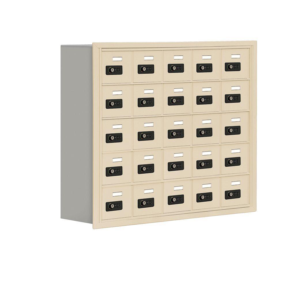 Salsbury Industries 19000 Series 37 in. W x 31 in. H x 8.75 in. D 25 A Doors R-Mount Resettable Locks Cell Phone Locker in Sandstone
