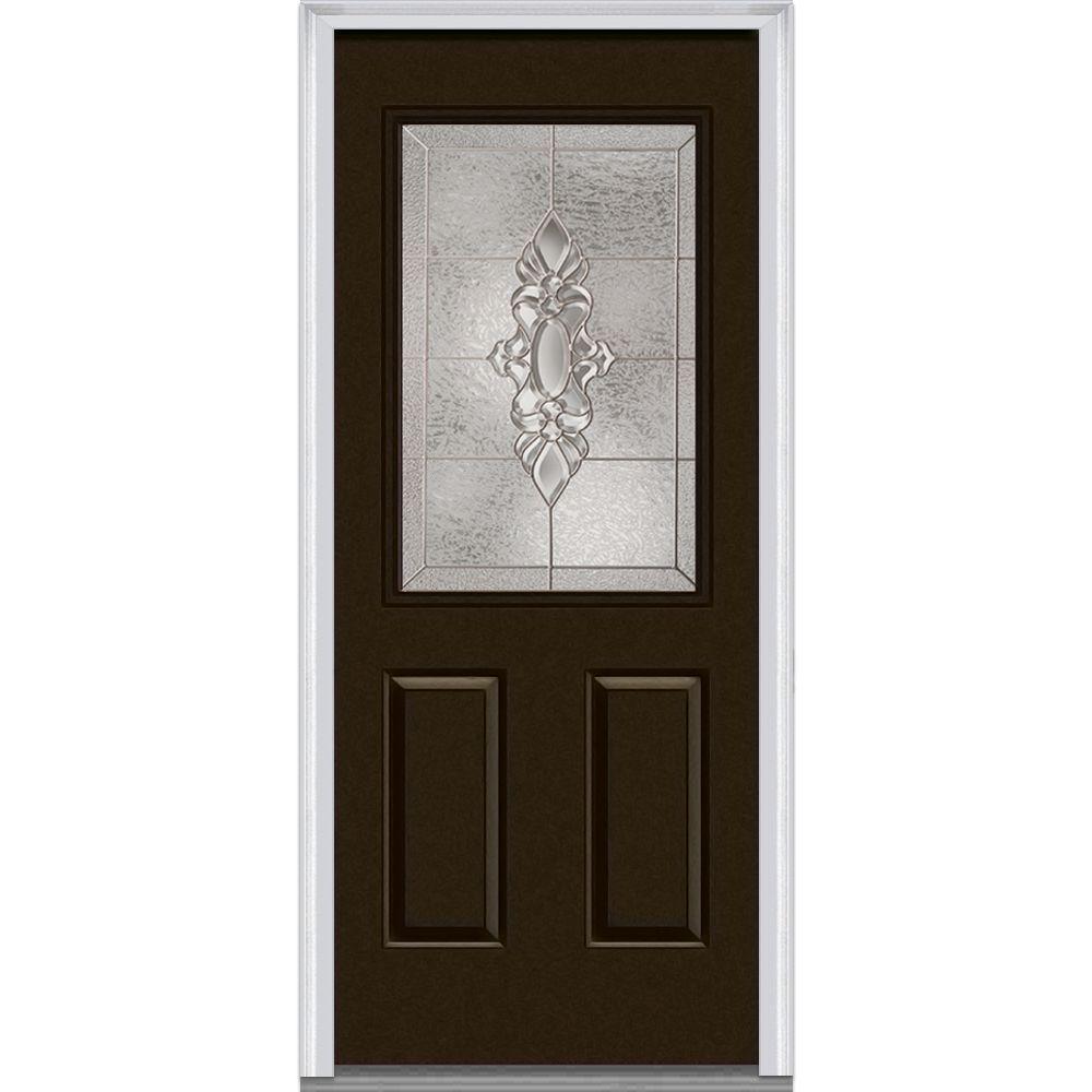 36 in. x 80 in. Heirloom Master Left-Hand Inswing 1/2-Lite Decorative Painted Fiberglass Smooth Prehung Front Door
