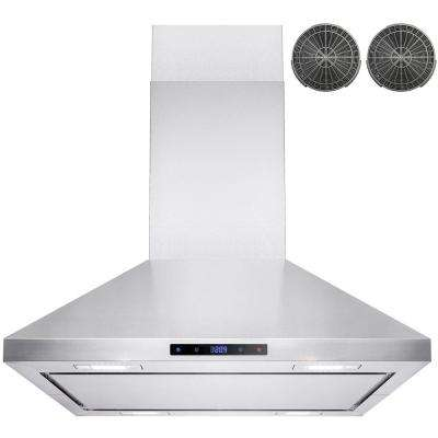 30 in. Convertible Kitchen Island Mount Range Hood in Stainless Steel with LEDs, Touch Control and Carbon Filter