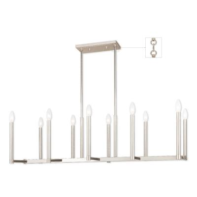Alpine 10-Light Polished Nickel Linear Chandelier