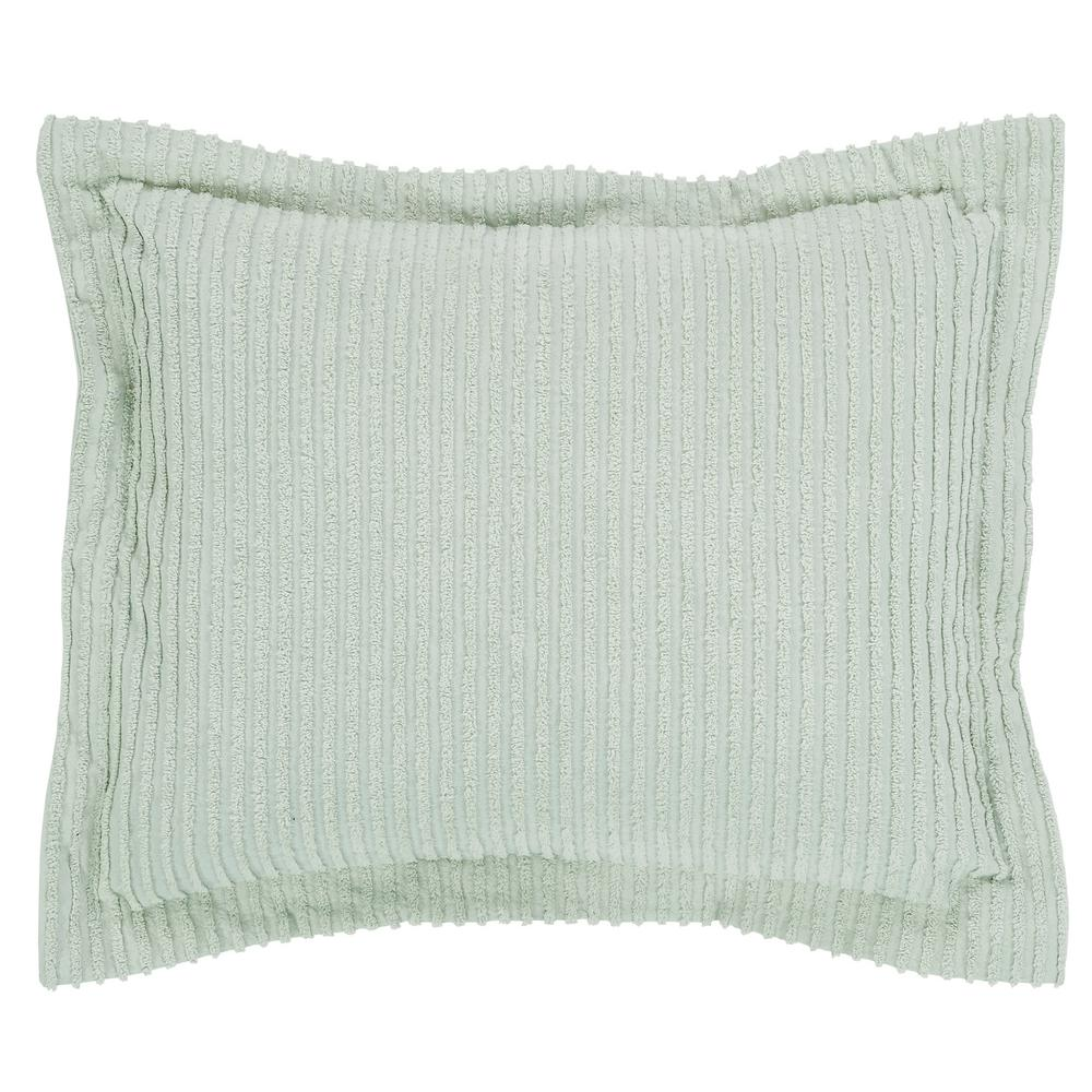 Julian Collection in Solid Stripes Design Sage Standard 100% Cotton Tufted Chenille Sham
