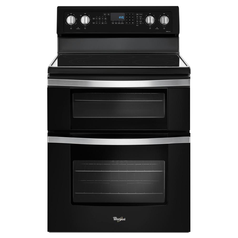 Whirlpool 6 7 Cu Ft Double Oven Electric Range With True Convection In Black Ice