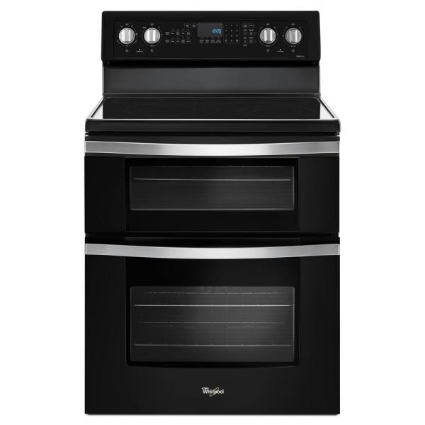 Whirlpool 6.7 cu. ft. Double Oven Electric Range with True Convection in Black Ice