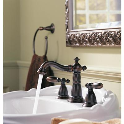 Victorian 8 in. Widespread 2-Handle Bathroom Faucet with Metal Drain Assembly in Venetian Bronze