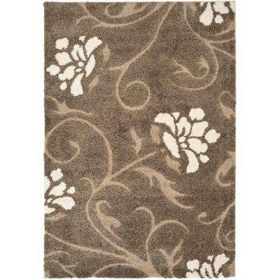 Florida Shag Smoke/Beige 5 ft. 3 in. x 7 ft. 6 in. Area Rug