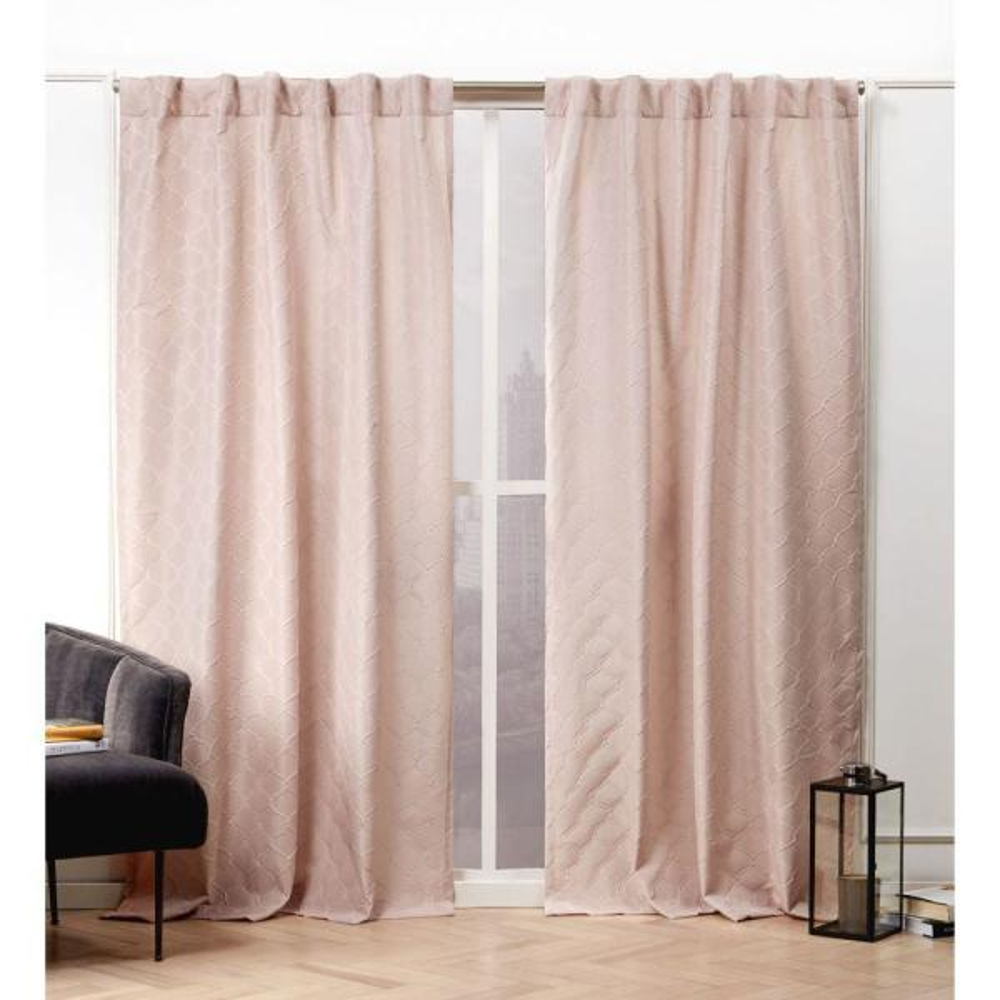 Trellis Matelass Blush Room Darkening Hidden Tab Top Curtain Panel - 54 in. W x 84 in. L   (2-Panel)