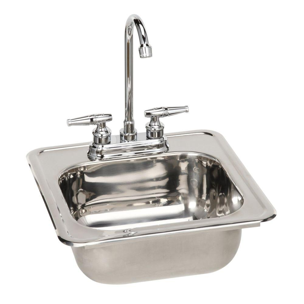 Pegasus Drop-in Polished Stainless Steel 15x15x6 Single Basin Kitchen Sink with Faucet-DISCONTINUED