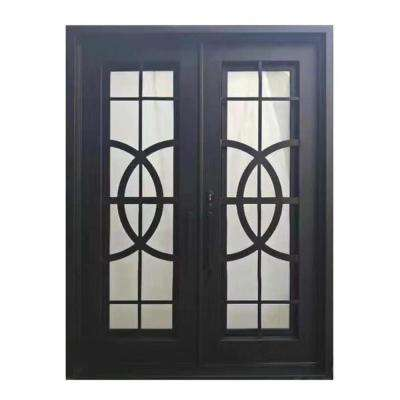 72 in. x 96 in. Matte Black Right-Hand Inswing 2-Lite Tempered Rainstorm Glass Iron Prehung Front Door