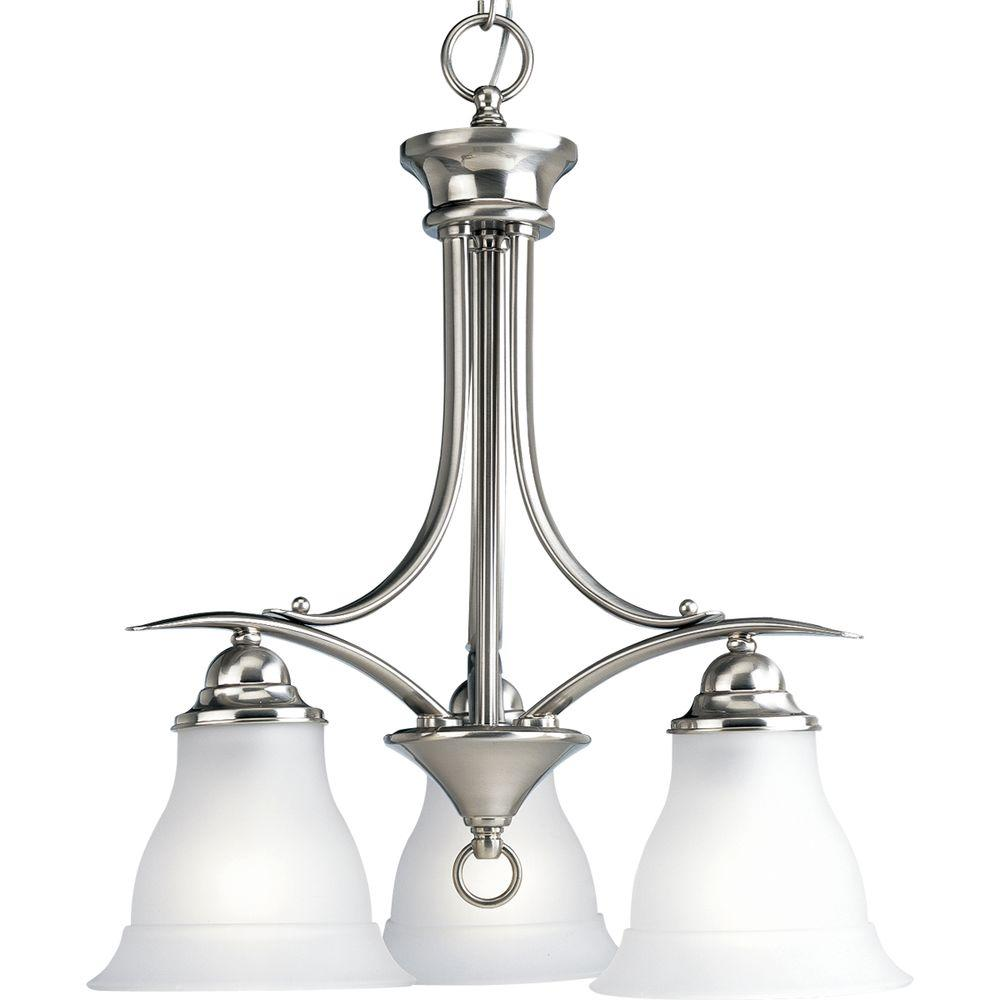 Progress Lighting Trinity 3-Light Brushed Nickel Chandelier with Etched Glass