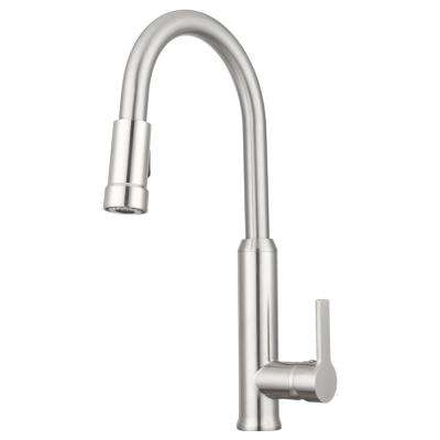 Othello Single-Handle Pull-Down Sprayer Kitchen Faucet with Multiple Spray Functions in Brushed Satin Nickel