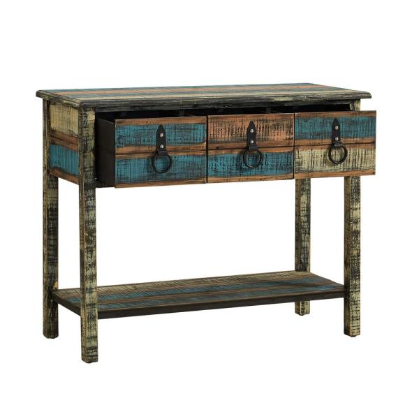 Powell Company 39 In Multi Colored Standard Rectangle Wood Console Table With Drawers 114 225 The Home Depot