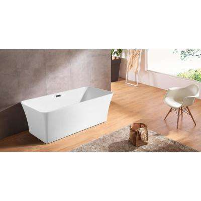66.9 in. Acrylic Rectangular Flatbottom Not-Whirlpool Bathtub in Glossy White