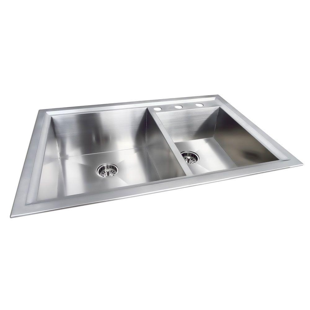 Dual Mount Stainless Steel 33 in. 3-Hole Double Bowl Kitchen Sink
