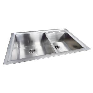 Glacier Bay Dual Mount Stainless Steel 33 In 3 Hole Double Bowl Kitchen Sink In Matte Qk011