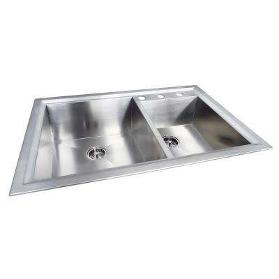 Dual Mount Stainless Steel 33 in. 3-Hole Double Bowl Kitchen Sink in Matte