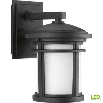 Wish Collection 1-Light 10.4 in. Outdoor Textured Black LED Wall Lantern