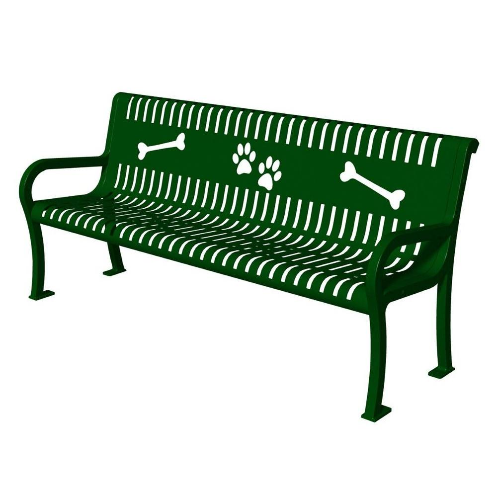 ultra play lexington series green paws commercial bench-tbark-954