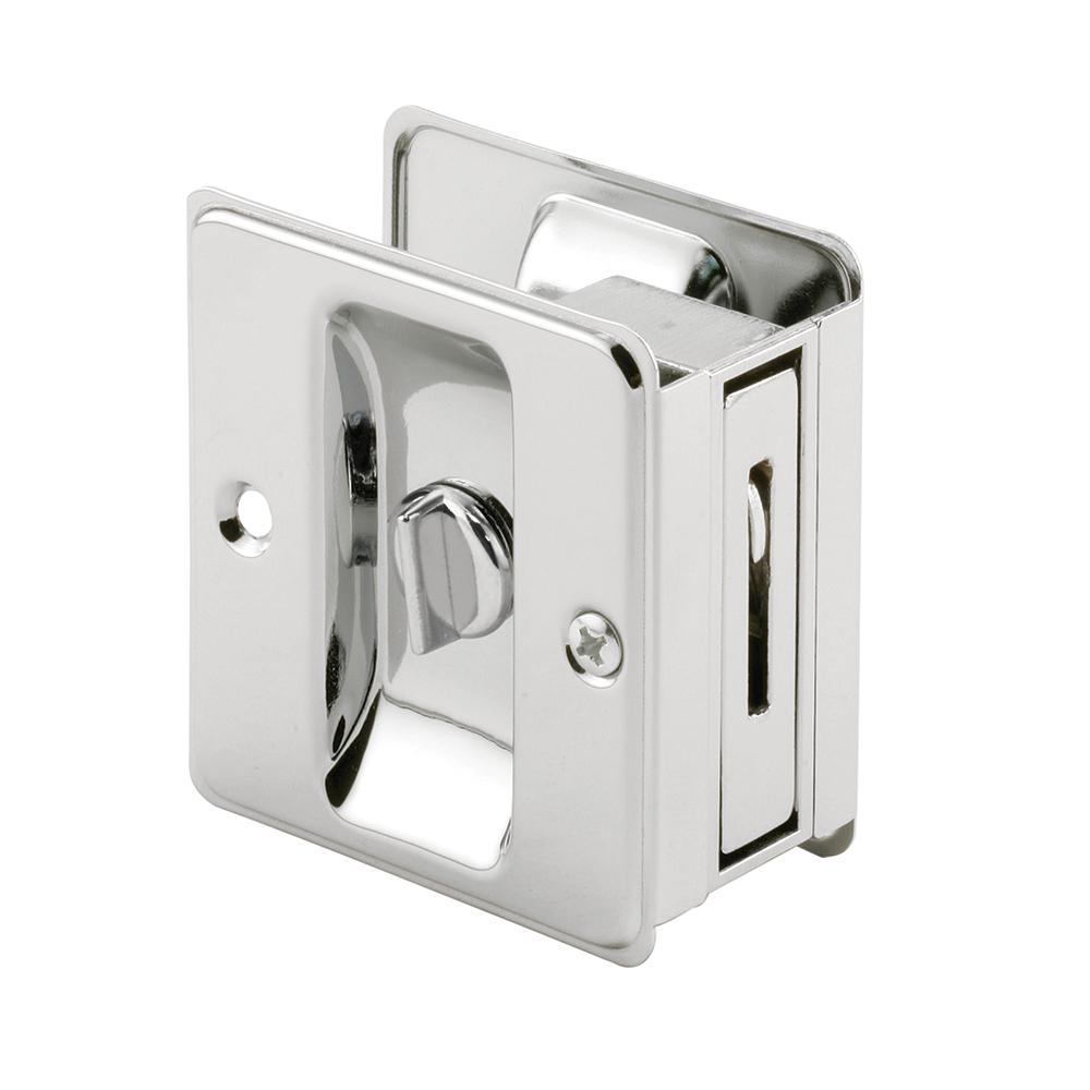Privacy Pocket Door Mortise Lock Set With Rectangular Pulls on