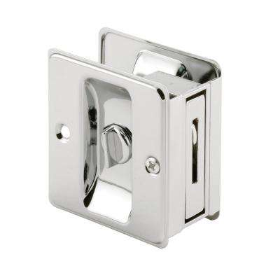 Polished Chrome, Pocket Door Privacy Lock