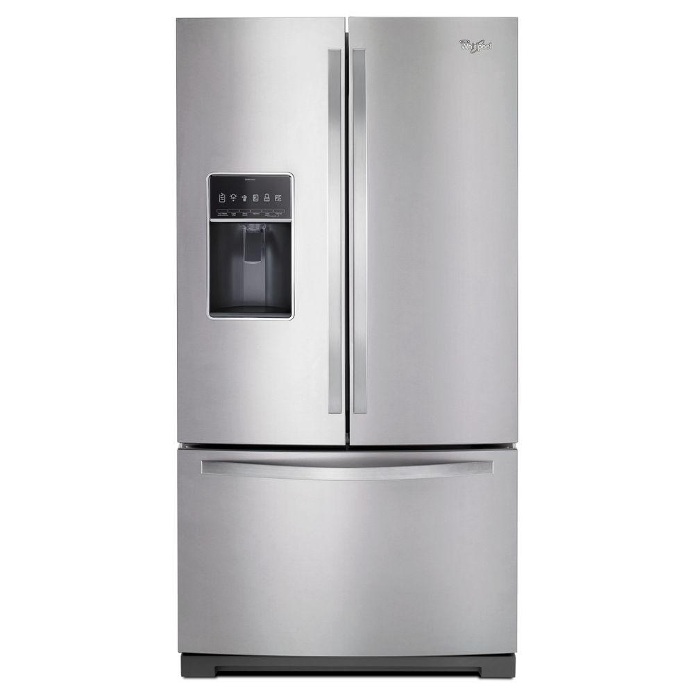 Wonderful Whirlpool Gold French Door Refrigerator Reviews Part - 8: Whirlpool 36 In. W 27 Cu. Ft. French Door Refrigerator In Monochromatic  Stainless Steel-WRF757SDEM - The Home Depot