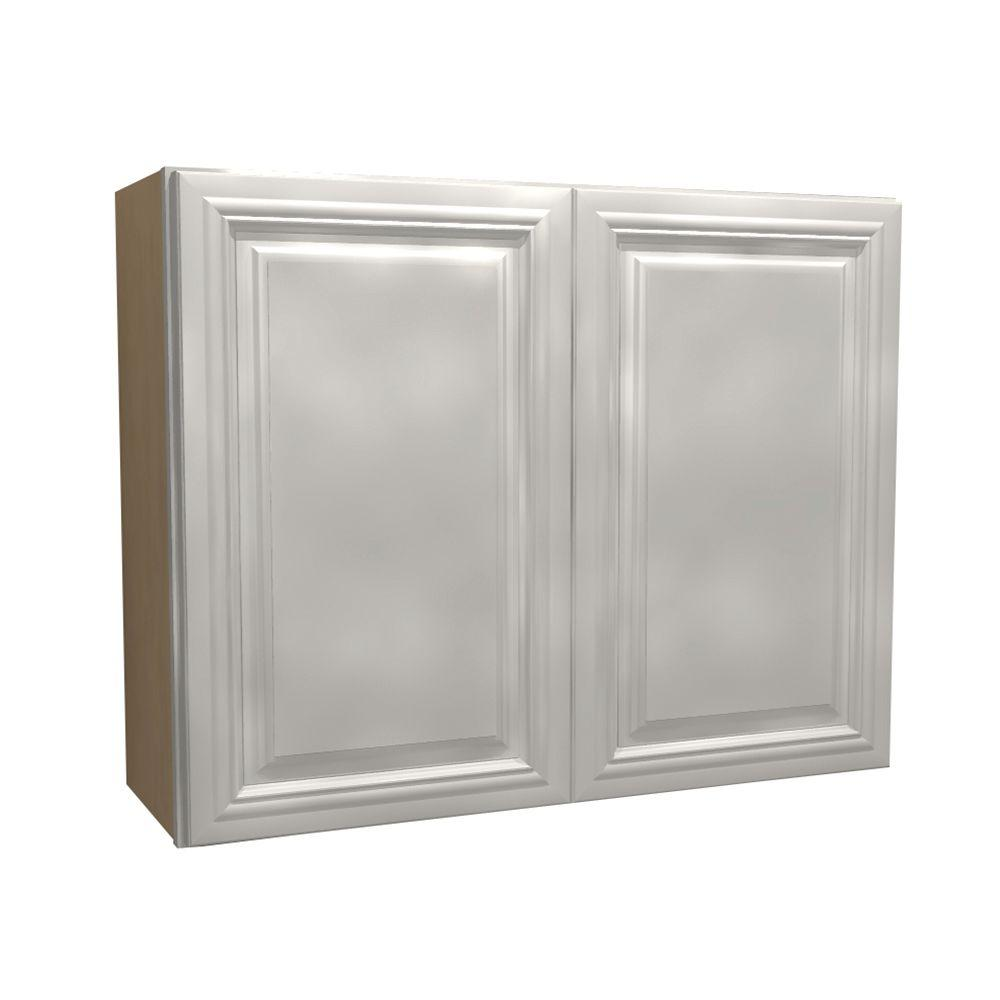 Home Decorators Collection 36x30x12 in. Coventry Assembled Wall Cabinet with 2 Doors in Pacific White