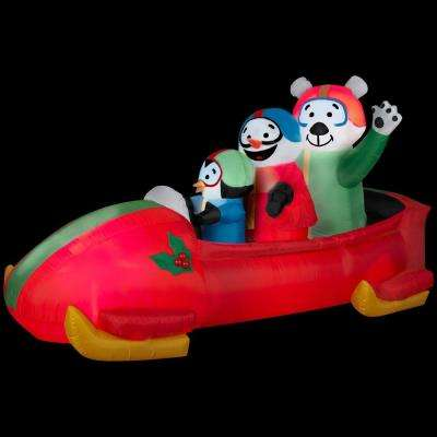83.86 in. W x 37.01 in. D x 42.91 in. H Animated Inflatable Bobsled Team Penguin, Snowman and Teddy Bear