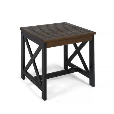 Crystal Beach Dark Brown Square Acacia Wood Outdoor Side Table