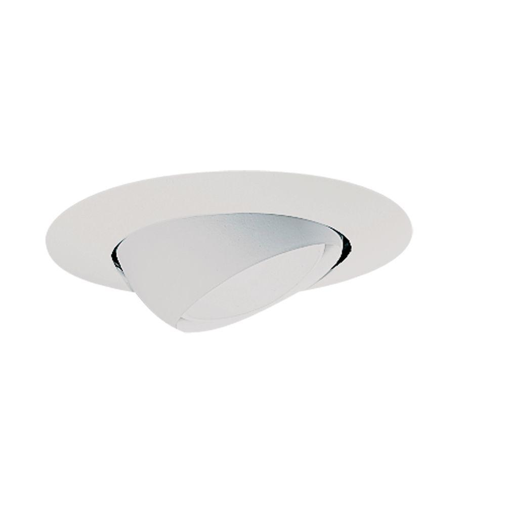 Halo 78 series 6 in white recessed ceiling light trim with white recessed ceiling light trim with adjustable eyeball 78p the home depot mozeypictures Choice Image