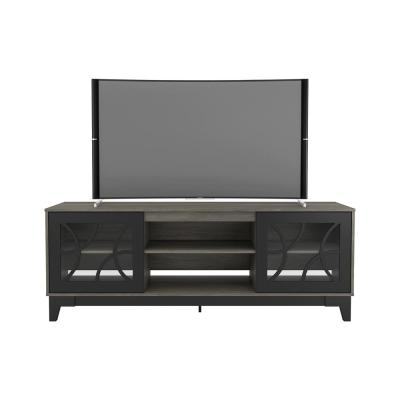 Venus 71 in. Bark Gray and Black Engineered Wood TV Stand Fits TVs Up to 80 in. with Storage Doors
