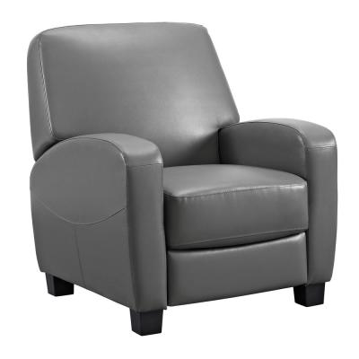Marina Gray Faux-Leather Home Theater Recliner