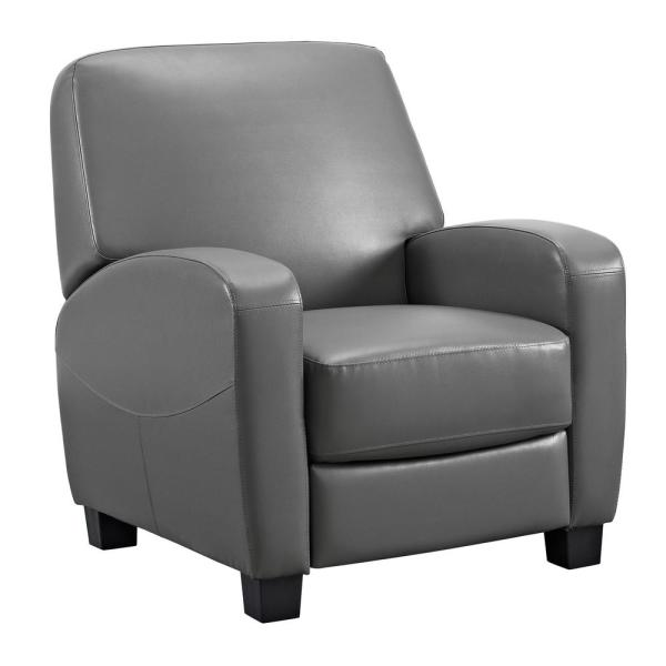 Dorel Living Marina Gray Faux-Leather Home Theater Recliner FH3350R-GR