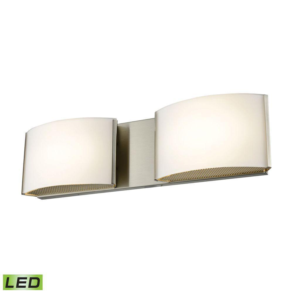 Pandora 2-Light Satin Nickel and Opal Glass LED Vanity Light