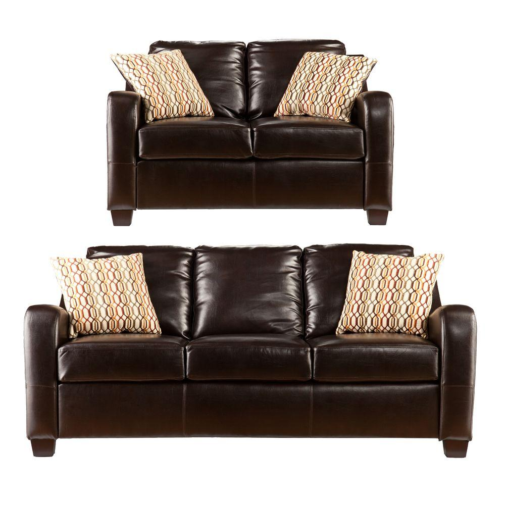 Southern Enterprises Leather Donatello 2-Piece Sofa Collection in Brown
