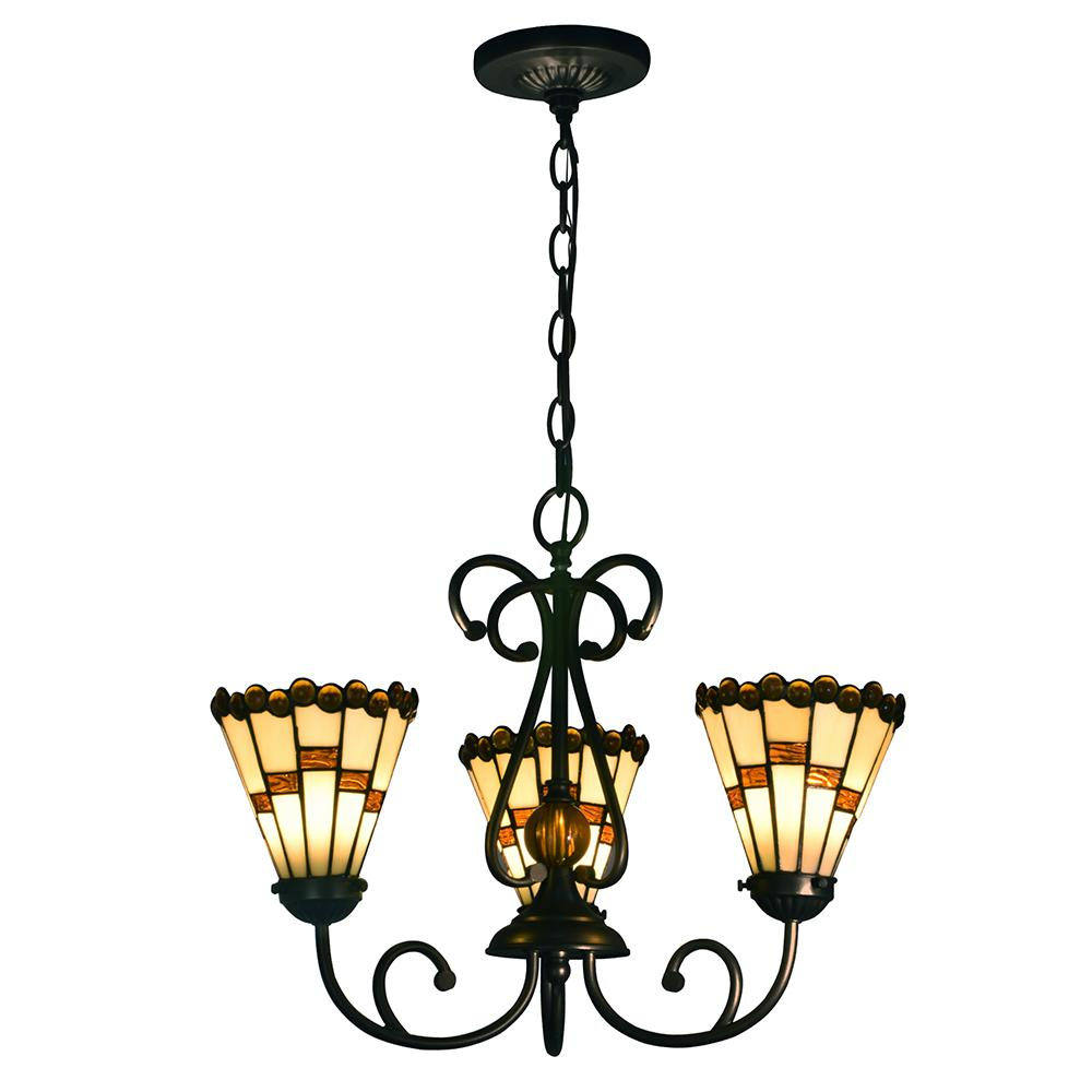 Jerome 60-Watt Tiffany Bronze Integrated LED Chandelier with Hand Rolled Art