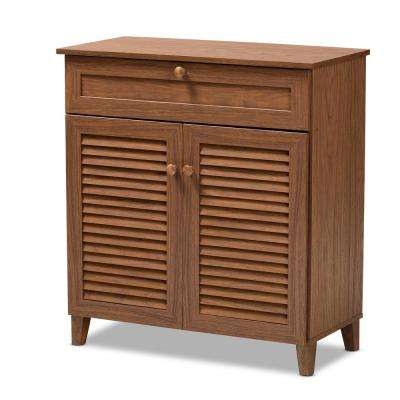 Coolidge 33 in. H x 31 in. W 12-Pair Walnut Wood Shoe Storage Cabinet