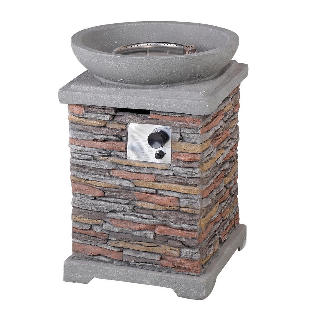 40000 BTU Outdoor Newcastle Propane Firebowl Column Realistic Look Firepit Heater Lava Rock Gas Fire Pit Natural Stone