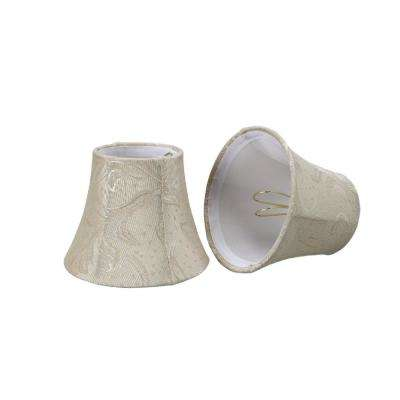 5 in. x 4 in. Off White and Leaf Bell Lamp Shade (2-Pack)