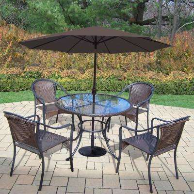 4 5 Person Umbrella Base Wicker Patio Dining Sets Patio
