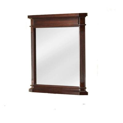 26 in. W x 30 in. H Framed Rectangular Beveled Edge Bathroom Vanity Mirror in Cherry