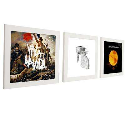 3-Opening 12 in. x 12 in. White Vinyl Record Picture Frame