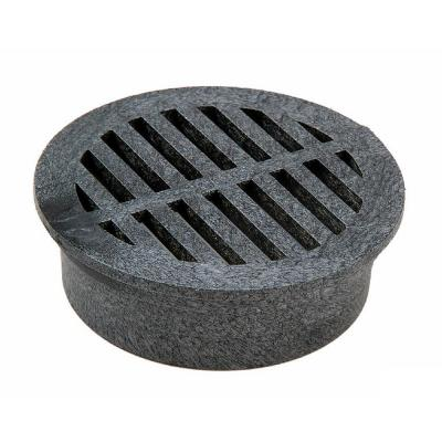 3 in. Plastic Round Drainage Grate in Black