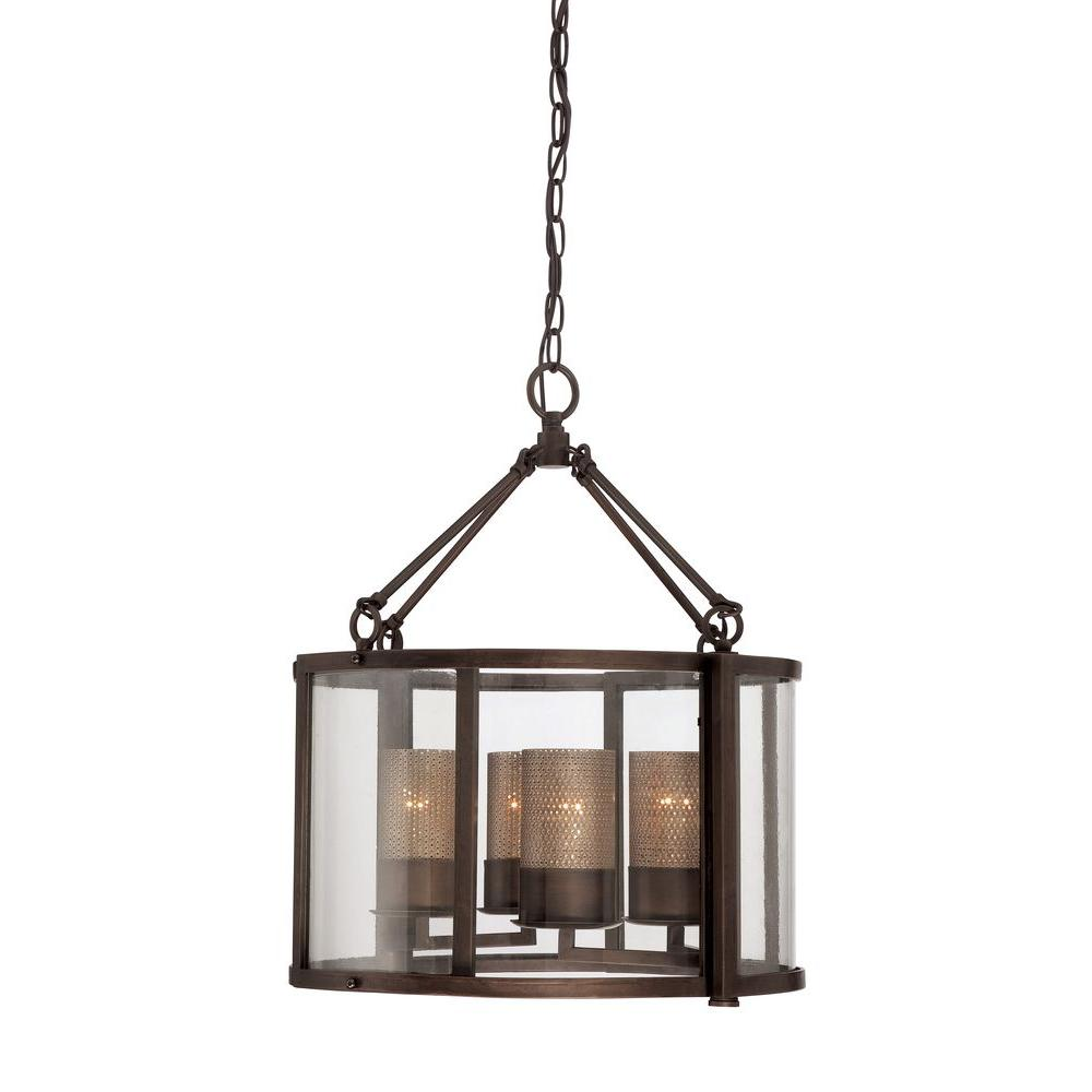 Varaluz Jackson 4-Light Rustic Bronze Chandelier with Arched Windowpane Glass