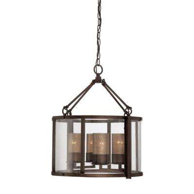 Jackson 4-Light Rustic Bronze Chandelier with Arched Windowpane Glass
