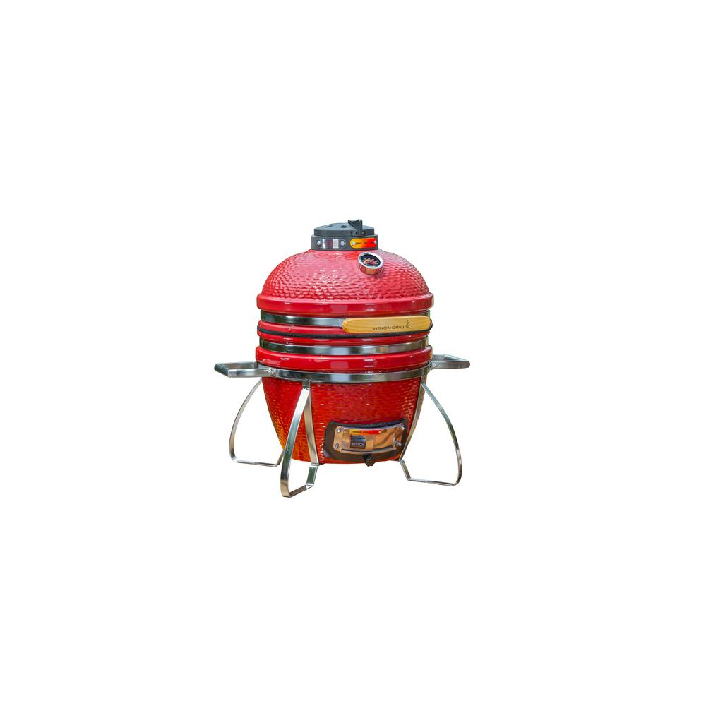 Vision Grills Cadet Kamado Charcoal Grill in Crimson Red