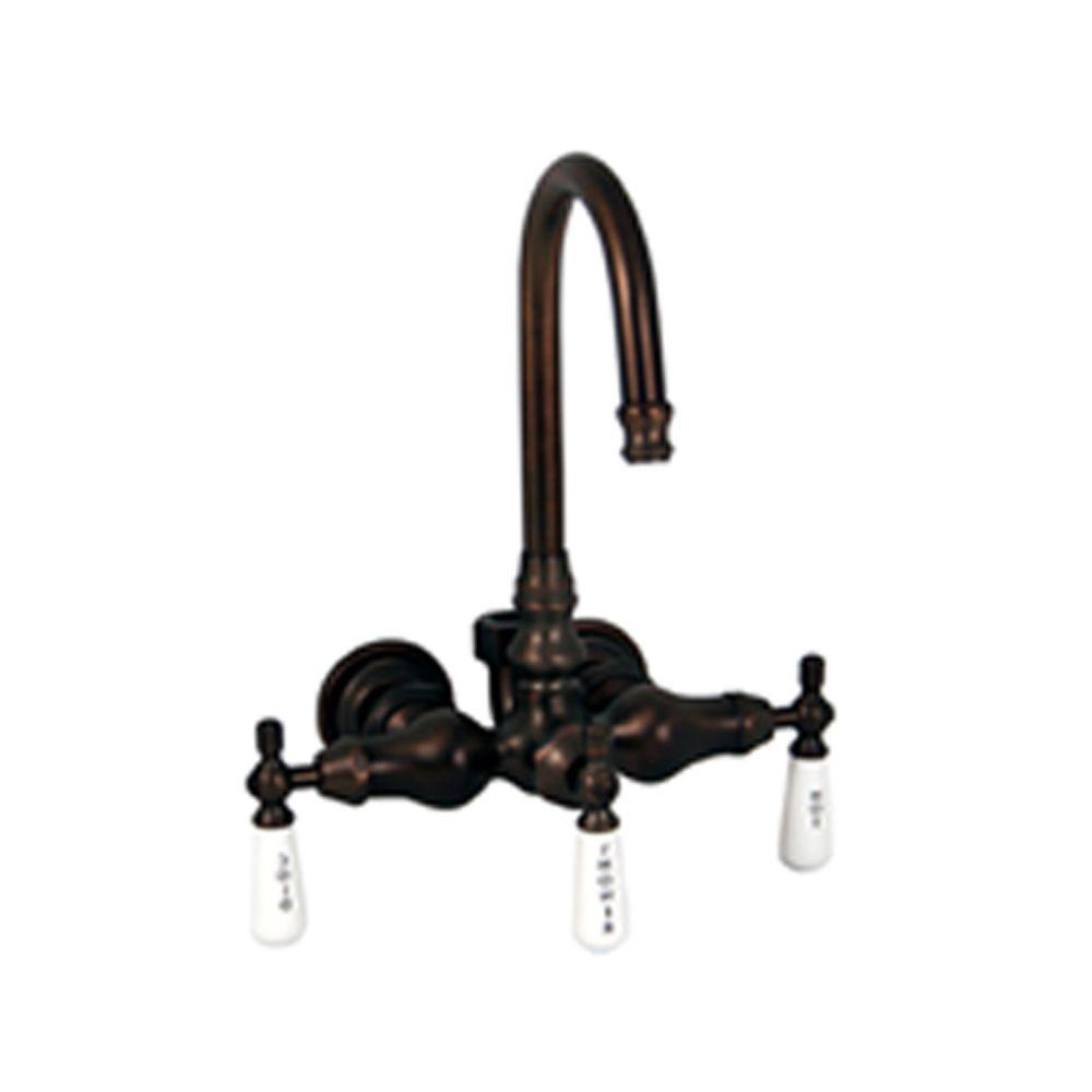 Porcelain Lever 3-Handle Claw Foot Tub Faucet with Diverter in Oil