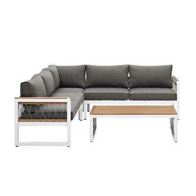 4-Piece Wood Outdoor Sectional with Grey Cushions and Cord Accents