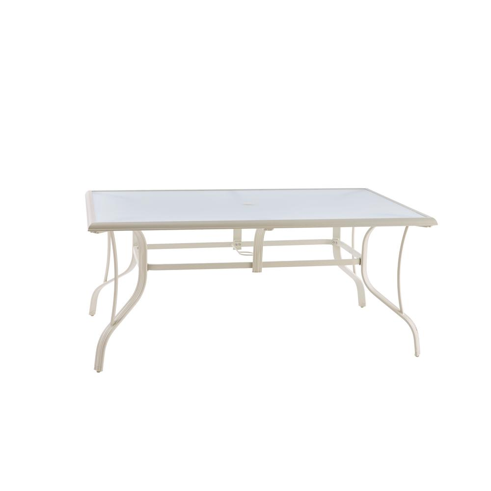 Hampton Bay Statesville Shell Rectangle Aluminum Outdoor Dining Table