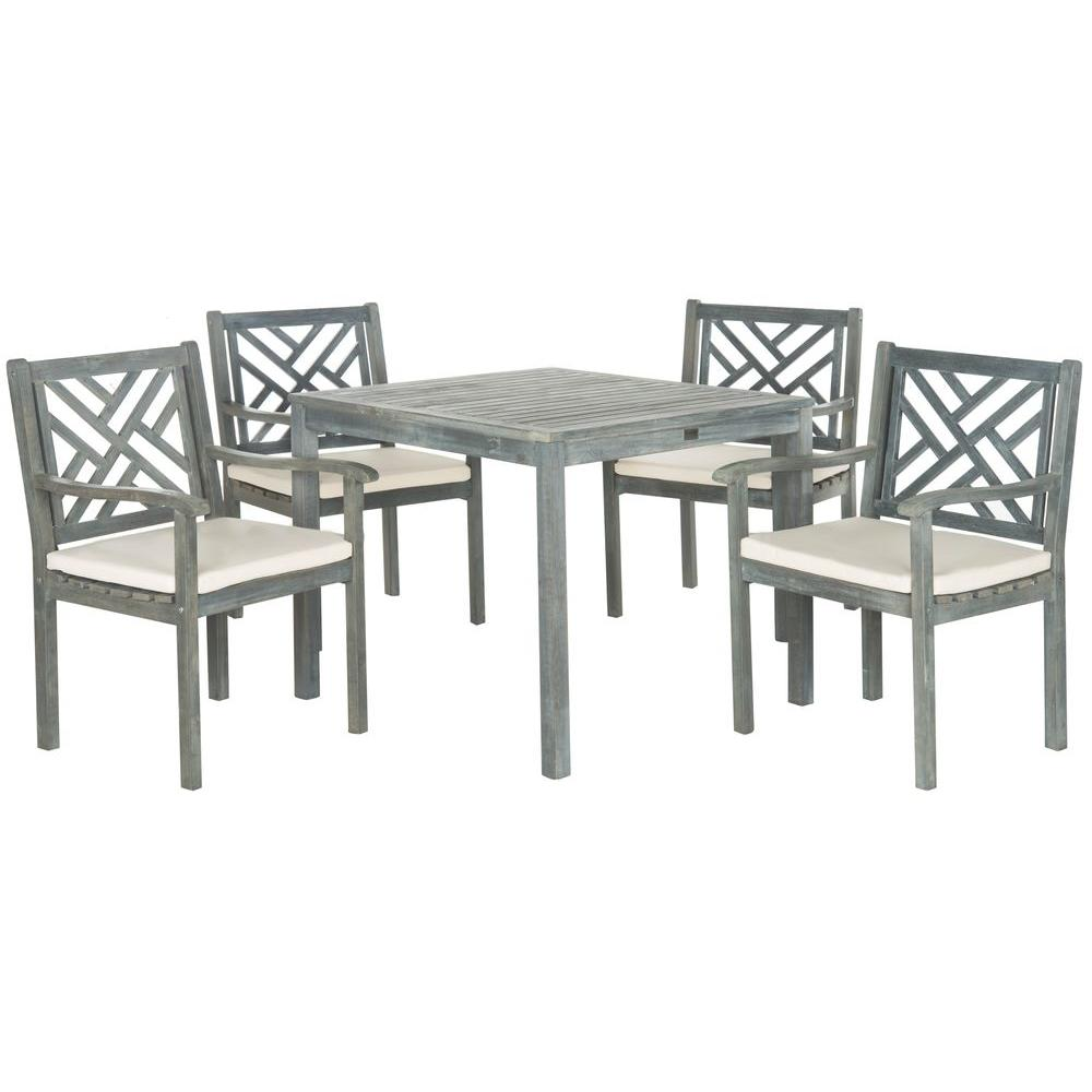 Bradbury ash gray 5 piece patio dining set with beige cushions