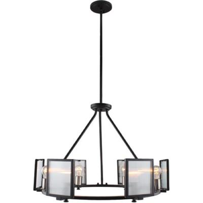 Henessy 6-Light Black and Brushed Nickel Chandelier with Reeded Glass