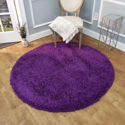 Bella Collection Purple 5 ft. x 5 ft. Round Area Rug